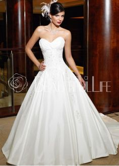 $286.99 Satin #Ball Gown #Strapless Chapel Train #Bridal #Dress With Appliques Embroidery– Discount #Ball Gown #Wedding #Dresses