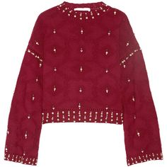 Jonathan Simkhai Matador embellished wool sweater (890 AUD) ❤ liked on Polyvore featuring tops, sweaters, burgundy, red sweater, bell sleeve tops, woolen tops, beaded sweater and embellished top