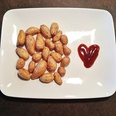 Teeny Tiny Potatoes from trader Joe's with a side of BBQ sauce. Just ...