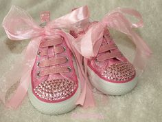 Baby bling shoes | Baby Infant Girls Cute Pink Sparkly Bling Converse Trainer Shoes UK 4 ...