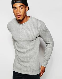 ASOS | ASOS Extreme Muscle Long Sleeve T-Shirt In Gray Stretch Rib Jersey at