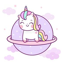 Cute Unicorn vector on the sky Kawaii pony cartoon pastel color with star and cloud, Nursery decoration stock illustration