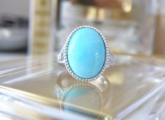 New Designer Robins Egg Blue Amazonite Filigree Open Work Solitaire Ring Size 8 #Designer #Solitaire