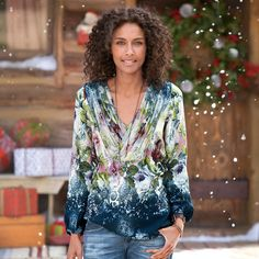 """WINTER GARDEN TUNIC--Dipped in midnight blue, our flowing floral tunic flatters with softly draped chiffon shirring at the neck and a lightly elasticized waist. Silk. Dry clean. Imported. Sizes XS (2), S (4 to 6), M (8 to 10), L (12 to 14), XL (16). Approx. 27""""L."""