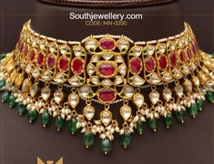 22 Carat gold antique choker adorned with polki diamonds, rubies, emerald beads and pearls by Mangatrai Neeraj Jewellers. Antique Jewellery Designs, Gold Jewellery Design, Antique Jewelry, 18k Gold Jewelry, Bridal Jewelry, Jewelry Sets, Rajputi Jewellery, Necklace Designs, Choker