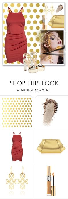 """""""Gold"""" by christinacastro830 ❤ liked on Polyvore featuring Vellum, ZAC Zac Posen, Anna Byers, Yves Saint Laurent and Giuseppe Zanotti"""