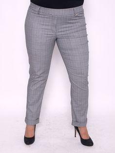 Női nadrágok Hosszú nadrágok Divatos kockás magasderekú