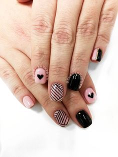 Pink and black nails. Hearts and stripes. Gold loose glitter. #PreciousPhan