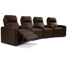 Octane Seating XL700 Series Turbo Theater Seating with Power Recline and Brown Premium Leather