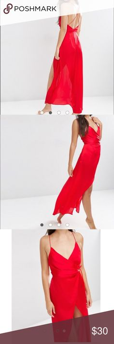 ASOS Ruched Side Satin Maxi Slip Wore only once. Has small stain as pictured.   PRODUCT DETAILS -Night dress by ASOS Collection -Silky-feel woven fabric -V-neckline -Wrap front -Crossover straps -Tie fastening -Machine wash -100% Polyester ASOS Dresses