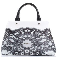 Белая сумка Marina Creazioni с принтом в виде черного кружева