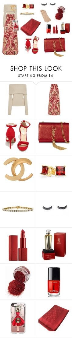 """""""Styling By Wynter: Christmas Glitter"""" by thewynterproj ❤ liked on Polyvore featuring Rosetta Getty, Miu Miu, Qupid, Yves Saint Laurent, Chanel, Bling Jewelry, NARS Cosmetics, Cartier, Casetify and Louis Vuitton"""