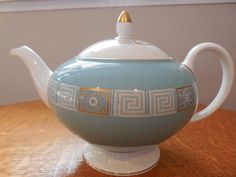 Wedgwood Turquoise Asia bone china #24 teapot - EXCELLENT!!