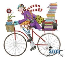 Mónica Carretero girl on bike with books and dog illustration I Love Books, Books To Read, My Books, Bicycle Illustration, Illustration Art, Buch Design, Reading Art, Bicycle Art, World Of Books