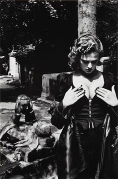 """PÈRE LACHAISE, TOMB OF TALMA, PARIS.""  By Helmut Newton    Dimensions: 14x9 1/4 (35.6x23.5 cm.)  Medium: Silver print  Creation Date: 1977; printed 1984"