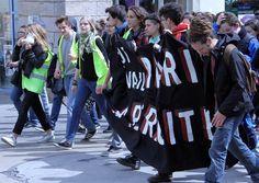 Au coeur de la manifestation étudiante contre la loi du travail, Nantes le 20 avril 2016