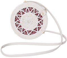 Rattan Bags for Women - Handmade Wicker Woven Purse Handbag Circle Boho Bag Bali - Crossbody Flat Sunflower White, Rope Basket, Basket Bag, Rattan, Wicker, Large Storage Baskets, Modern Vintage Fashion, Cotton Rope, Purses And Handbags, Hand Weaving