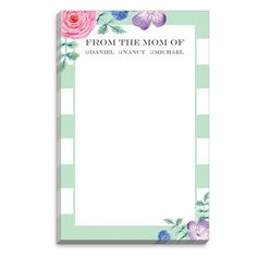"Add a personal touch to your desk with this trendy and modern personalized mom of notepad. Notepad size is 5.5"" x 8.5"" and contains 100 sheets. Flat-printed in ink color as shown with your choice of typestyles. Optional envelopes also available. Positioning only as shown."