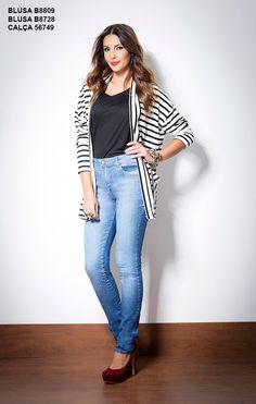 Vest listrada, Ref. B8809 Blusa basic, Ref. B8728 Calça Skinny Jeans, Ref. 56749