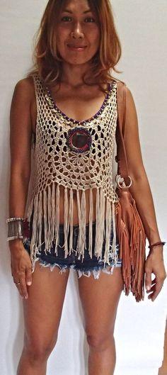 Handmade Crochet Fringed Boho Top with Vintage Mirror - festival vibes all round Crochet Shirt, Crochet Crop Top, Crochet Bikini, Crochet Fringe, Love Crochet, Knit Crochet, Crochet Clothes, Diy Clothes, Crochet Designs