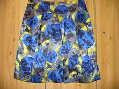 Hobbs skirt size 10 - blue & yellow silk | eBay