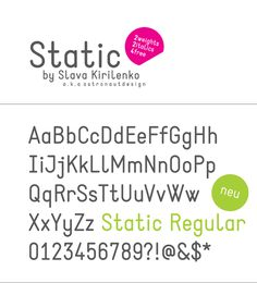 Static is a contemporary free font constructed with strong geometric forms in monospaced style. Applicable for any type of graphic design – web, print, motion graphics etc and perfect for t-shirts and other items like posters, logos.    Designed by Slava Kirilenko - a graphic designer from Almaty, Kazakhstan.