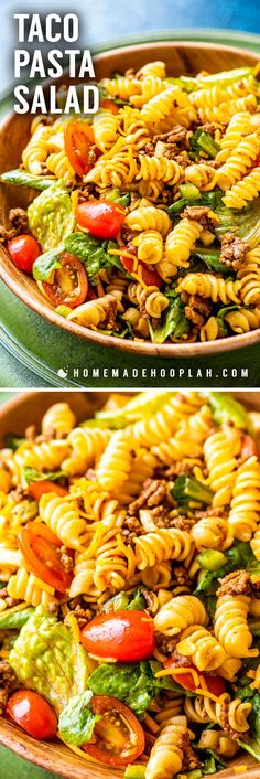 Taco Pasta Salad! Traditional taco pasta salad made with spiral pasta, ground beef, sweet tomatoes, veggies, plenty of cheese, and topped with sweet Catalina dressing. Classics are classic for a reason, and this fan-favorite recipe proves it! | HomemadeHooplah.com