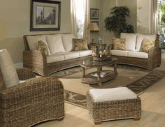 #Seagrass #Furniture Set: St. Kitts Set of 4 | #beige #sunroom #tropical #decor | www.wickerparadise.com/seagrass.html