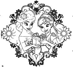 fever-elsa_anna-gift-coloring-page - Wecoloringpage