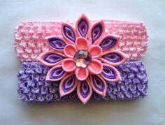 Girls Purple/Pink Headband with Kanzashi flower by CuteseyTootsie