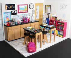 DIY American Girl Dollhouse Science Lab Classroom Here it is, corner room number. Doll stuff DIY A American Girl House, American Girl Doll Room, American Girl Crafts, American Girl Dollhouse, American Girls, Ag Doll House, Barbie House, Doll Houses, Girls Furniture