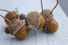Wool Needle Felted Swamp Oak Acorns Marbled Gold by Stitchcrafts, $14.00
