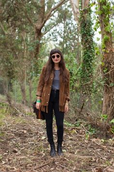 We're heading into the woods for Outside Lands outfit inspiration, and love this fringe suede jacket and retro round frames.