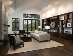 Black Walnut Hardwood With Natural Finish And Dark Built Ins Hardwood  Floors Living Room Design Ideas, Pictures, Remodel And Decor