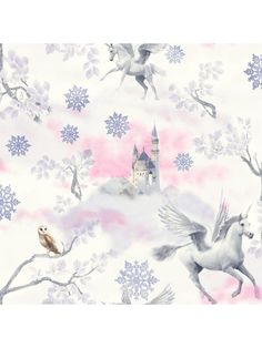 Arthouse Fairytale Glitter Wallpaper – Lilac Turn your princess' room into a fairytale kingdom with this sparkling wallpaper from Arthouse. Surrounded by pink clouds, an enchanted castle is watched over by wise snowy owls and graceful unicorns for a touch of mythical wonder. Lilac snowflakes help her to dream of far away lands, and a sprinkle of 'fairy dust' ensures her space looks as magical as possible. Pair with the matching Unicorn Glitter Canvas, available separately (see item number…
