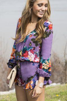 9269fe8f682a Jessie s Girl Purple Floral Print Long Sleeve Romper Romper Suit