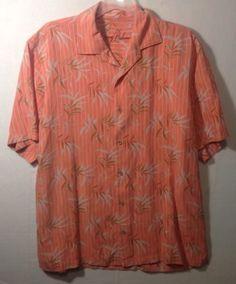 Tommy-Bahama-Mens-casual-Orange-Floral-Shirt-Size-Medium