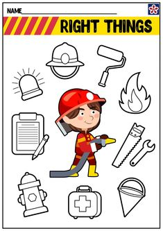 Fire Coloring and Painting Pages Toddler Learning Activities, Preschool Activities, Teaching Kids, Space Activities, Community Helpers Worksheets, Community Helpers Preschool, April Preschool, Preschool Writing, Police Officer Crafts