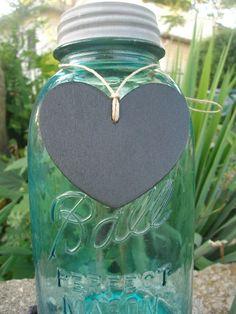 Heart wood chalkboard label tags for mason jar centerpieces