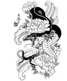 Japanese Snake Tattoo, Japanese Tattoo Designs, Japanese Sleeve Tattoos, Japanese Flower Tattoo, Arm Tattoos Drawing, Body Art Tattoos, Tattoo Sketches, Tattoos Skull, Dragon Tattoo Flash