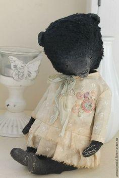 Купить Зина Цветочкина - чёрный, мишки тедди, тедди медведи, коллекционные игрушки, коллекционные медведи