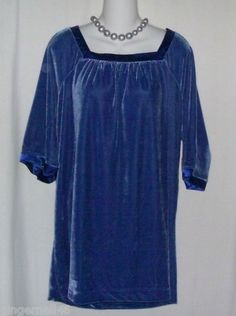 Chelse Studio Blouse Party Top Size 16w Blue Velour Tunic New w/ necklace free shipping