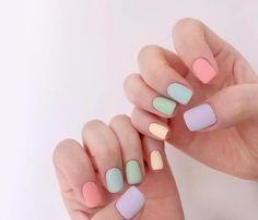 Chic Nails, Stylish Nails, Trendy Nails, Best Acrylic Nails, Acrylic Nail Designs, Nail Manicure, Toe Nails, Multicolored Nails, Teintes Pastel