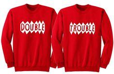 Matching bff sweatshirt. Matching best friend sweatshirts. Matching sister shirts. Funny twin shirts. Matching sibling shirts. Bff shirts. #doubletroubleshirt #matchingtwinshirts