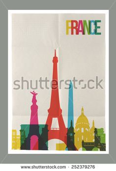 Travel France famous landmarks skyline on vintage paper sheet poster design background. Vector organized in layers for easy create your own postcard, brochure or marketing campaign.