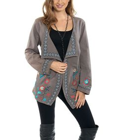 Look at this Luv2Luv Gray & Blue Embroidered Open Cardigan on #zulily today!