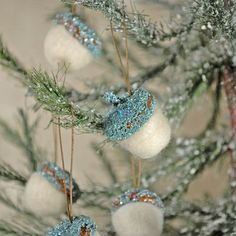 needle felted and glittered hanging acorn ornaments