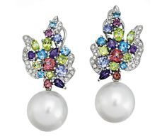 PAIR OF SOUTH SEA PEARL, DIAMOND AND MULTI GEM EARRINGS, PASPALEY Each surmount of foliate inspiration, set with variously cut multi coloured gemstones highlighted by brilliant-cut diamonds, suspending a 15.30mm cultured pearl, mounted in 18ct white gold, length approximately 45mm, signed Paspaley.