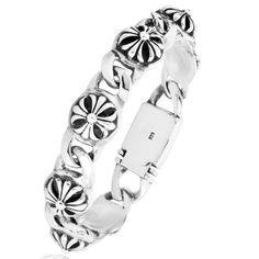 High-grade 925 Sterling Silver Fashion Men's Chrome Heart Crosses Bracelet