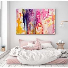 Saturday morning bedroom inspiration courtesy of @scissorspaperbrush! Check out her amazing collection by searching 'Celeste' at http://ift.tt/1v9jaEU #theblockshop #theblock #bedroom #art #wallart